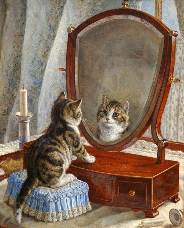 Котенок, когда в зеркало смотрит, наверняка думает, что он Лев! Frank Paton
