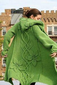 Прекрасное цветение с лианами на спицах хоровод-пальто спицы