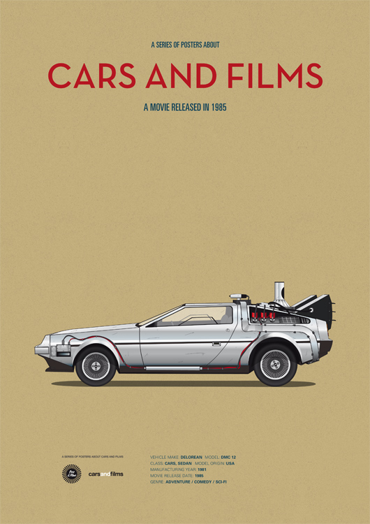 Серия мини-постеров `Cars and Films`. Дизайнер Jesús Prudencio