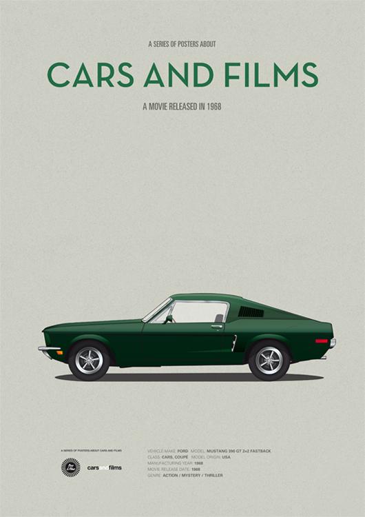 Серия миb50ни-постеров `Cars and Films`. Дизайнер Jesús Prudencio