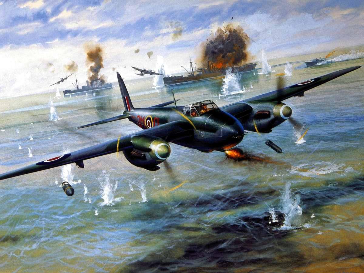 Британский многоцелевой бомбардировщик De Havilland Mosquito