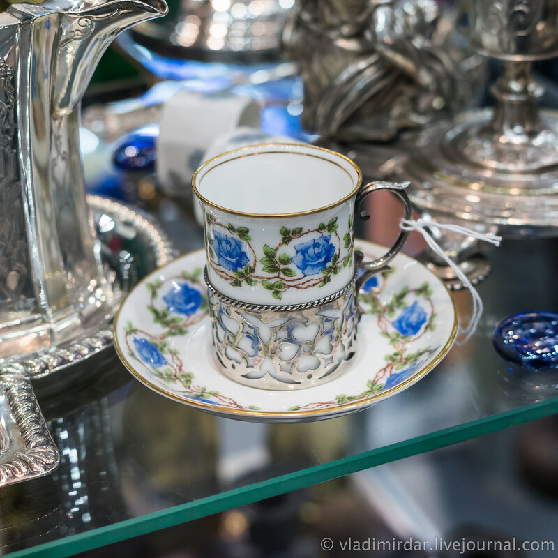 Чашка с серебряным подстаканником