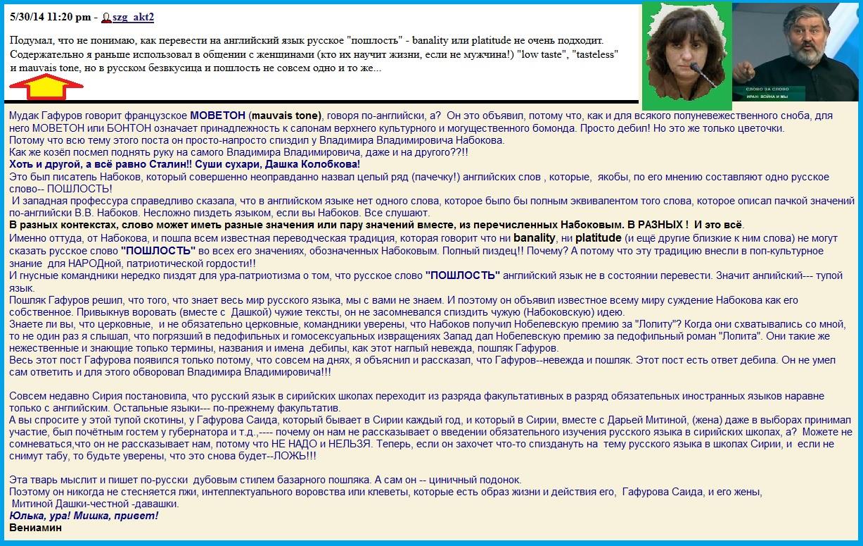 Гафуров, Набоков, Митина, пошлость, пост