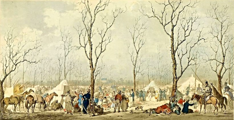 Бивуак казаков на Елисейских полей, Париж, 31 марта 1814,.jpg