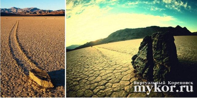 Движущиеся камни Долины Смерти фото