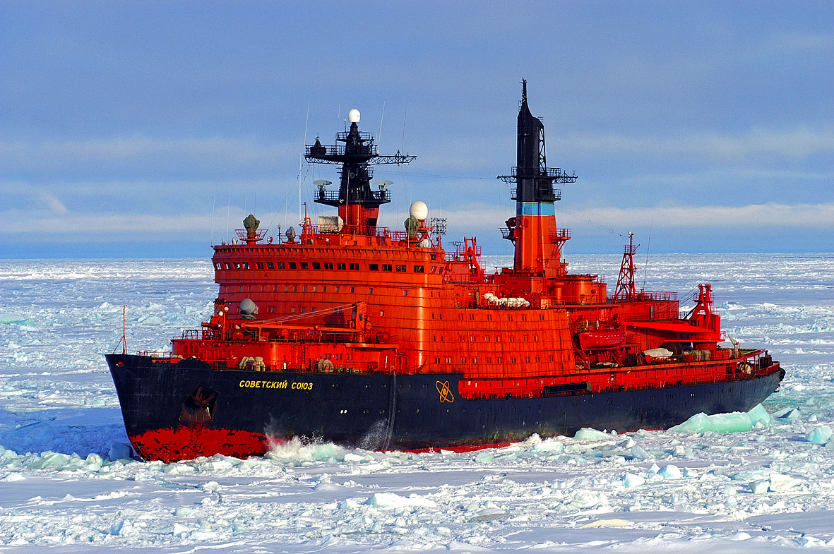 Icebreaker Sovetskiy Soyuz in the Arctic Ocean packice during the Arctic Coring Expedition, August to September 2004.