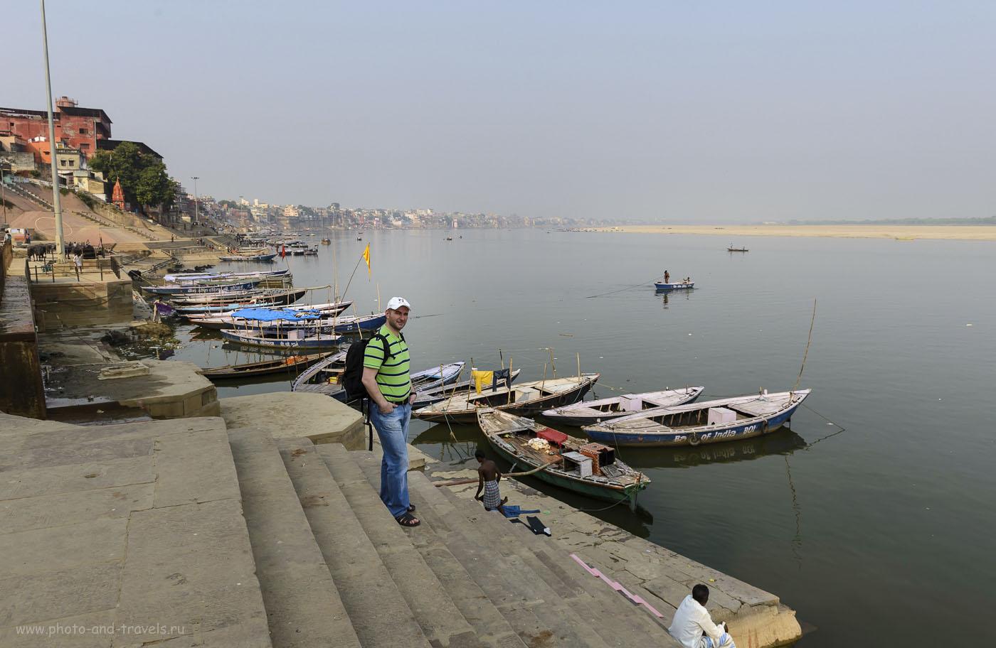 Фотография 21. Отчет о самостоятельной поездке по Индии. Город Варанаси. Гхаты на берегу реки Ганг. 1/320, 9.0, 160, 24.