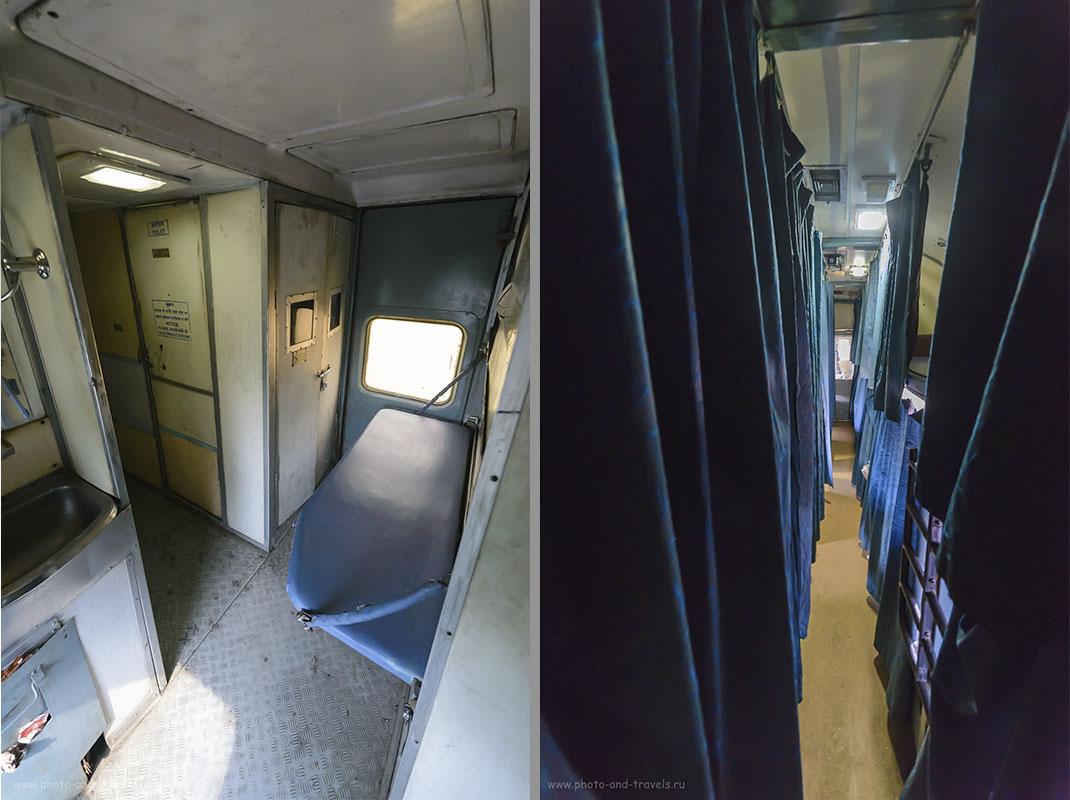 Фотография 5. Слева – тамбур в индийском вагоне, полка для проводника, которого мы видели по одному разу за каждую поездку. Справа – коридор вагона AC 2-Tier sleeper (2AС).