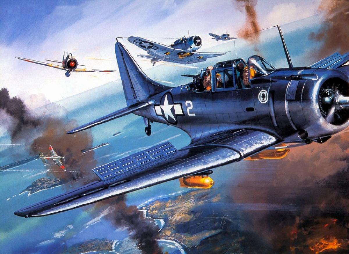 Американский палубный пикирующий бомбардировщик Douglas SBD Dauntless