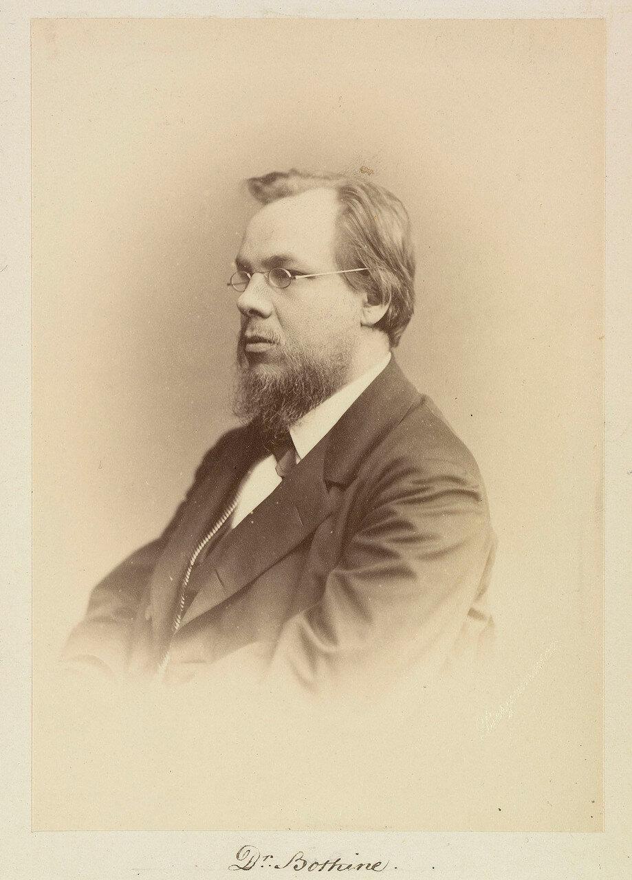Д-р Сергей Петрович Боткин (1832-1889) — русский врач-терапевт и общественный деятель, создал учение об организме, как о едином целом, подчиняющемся воле. Профессор Медико-хирургической академии (с 1861 года).1874