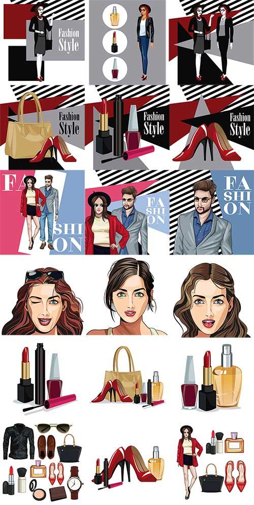 Модный стиль для молодёжи в векторе / Fashionable style for young people in vector