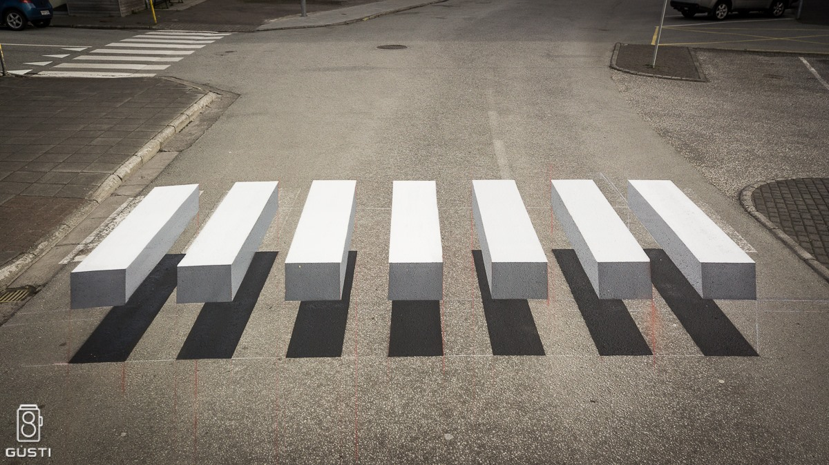 A 3D Zebra Stripe Crosswalk Appears in Iceland (4 pics)
