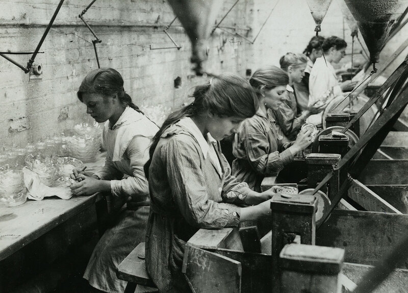 British women in glass factory cutting shop near Birmingham