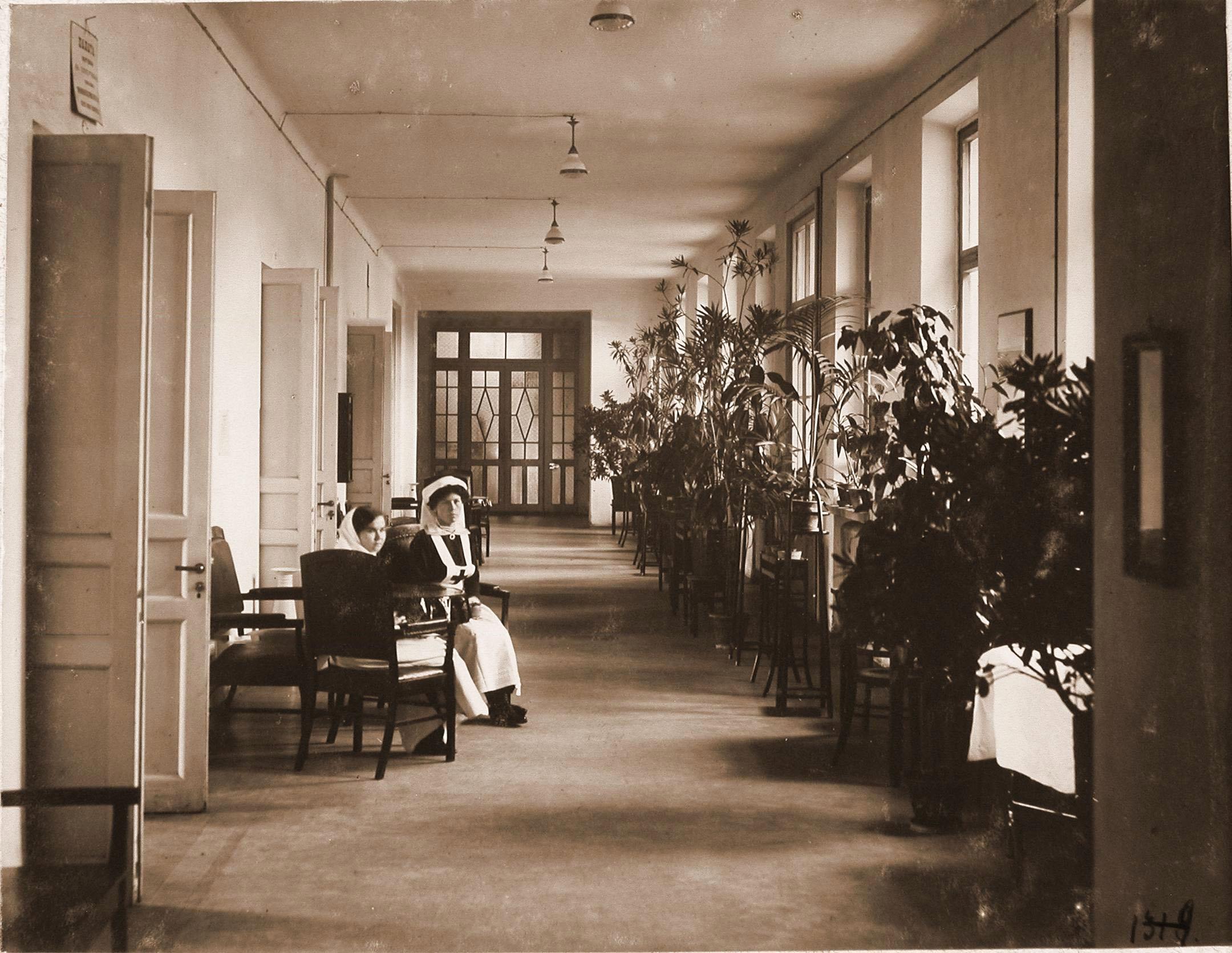 Сёстры милосердия в коридоре 1-го этажа больницы