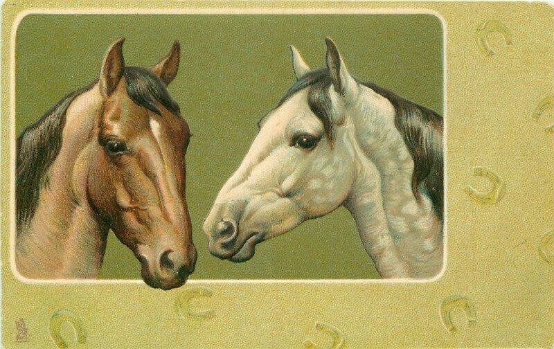 Лошади на старинных открытках