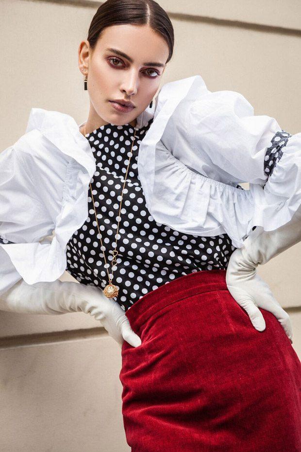 LONG SHIRT: RAMA HAMANI WHITE SHIRT: RAMA HAMANI RED STRAIGHT PENCIL SKIRT: MARTIN GRANT JEW