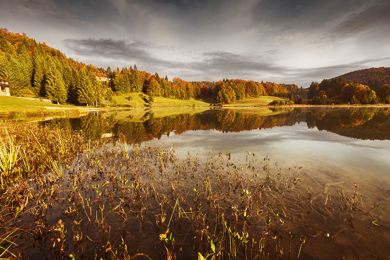 Stunning Autumnal Sunset On Lake Genin