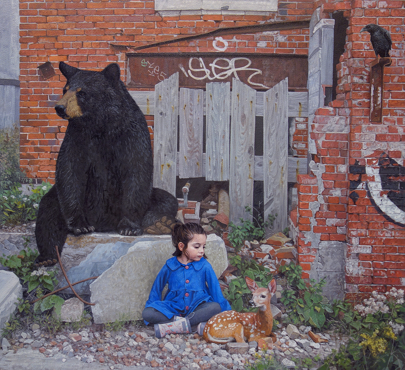 Young Children Accompanied by Wildlife Take a Stance Among Urban Decay in Paintings by Kevin Peterson
