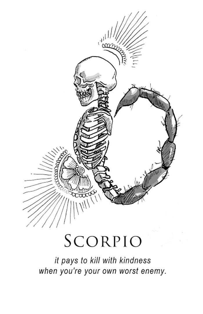 O horoscopo representado por ilustracoes bem sombrias