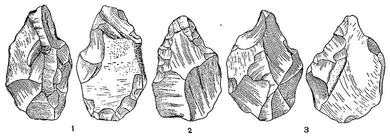 Ручные рубила (1,3) и остроконечник (2) позднешелльского типа. Армения, Сатани-Дар.