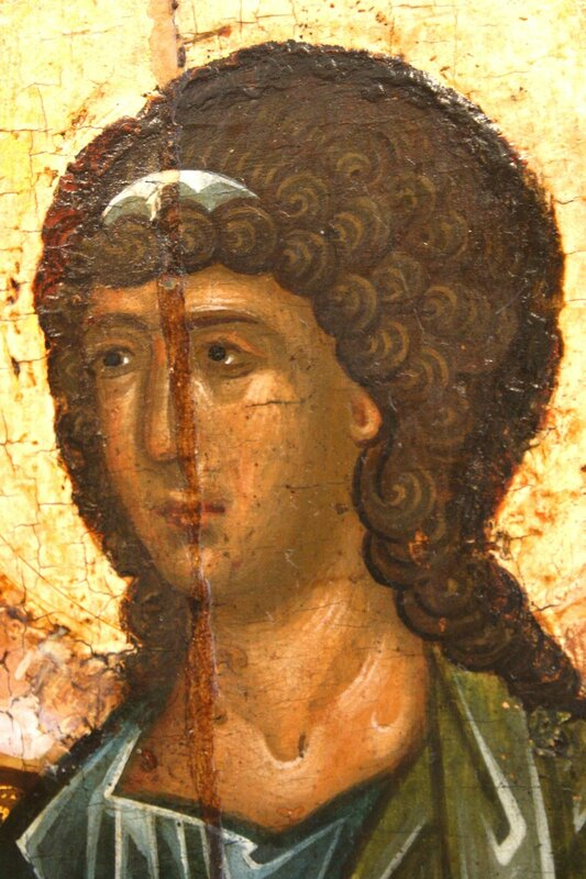 Святая Троица (Гостеприимство Авраама). Икона. Ярославль, середина XVI века. Фрагмент.