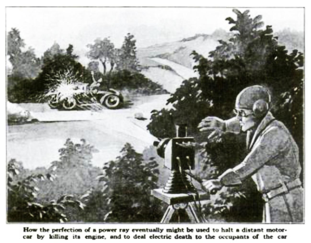 В статье, опубликованной 22 сентября 1940 года. Где говорилось о создании Теслой невидимых защитных полей силы, беспроводной передачи энергии и сжигающие лучи. Говорилось и о защитном поле Николы Тесла. Сквозь данное поле не один объект не мог проникнуть, а при контакте с полем, он разрушался.