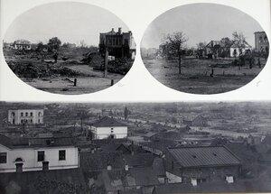 Табло с фотографиями мест пожара ( а и б ) и вновь строящихся зданий ( в ).