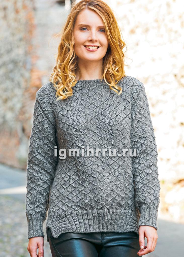 Серый пуловер с ромбами и оригинальной планкой. Вязание спицами