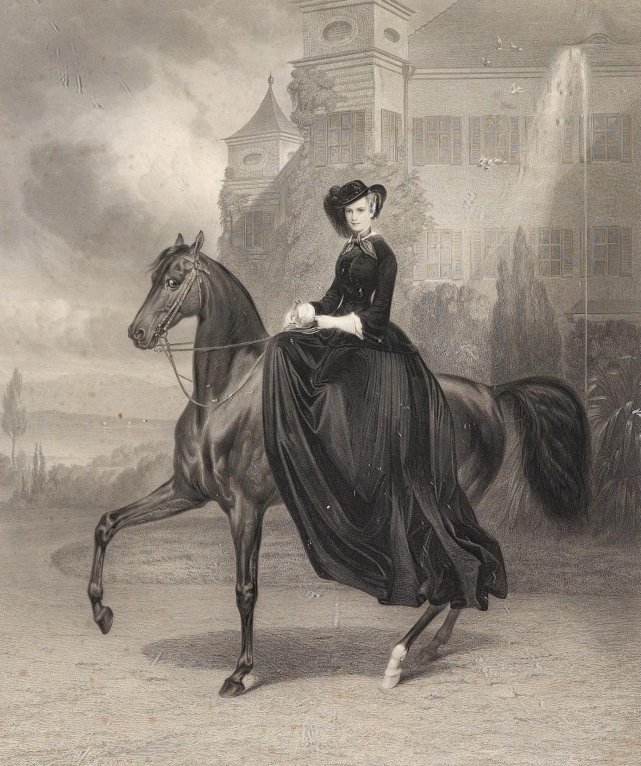 Kaiserin Elisabeth von Österreich als Braut zu Pferd in Possenhofen 1853.jpg