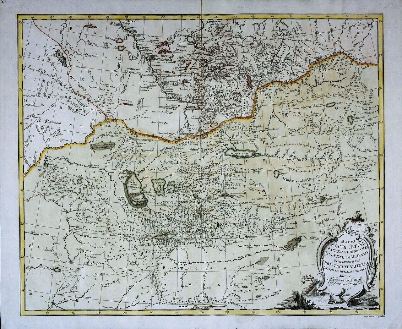1777. Карта южной части реки Ирбит и бывших калмыцких земель
