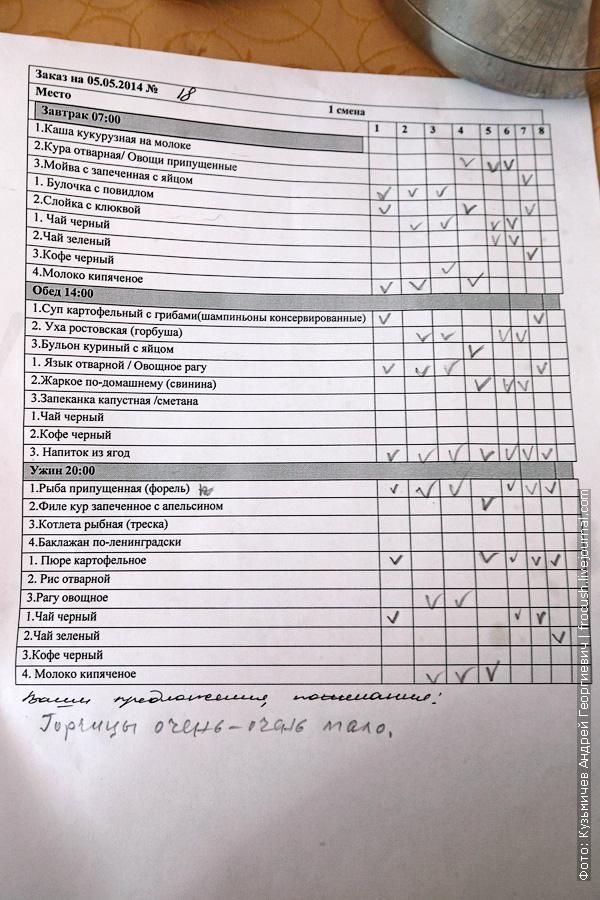 меню-заказ ресторан теплоход Русь Великая