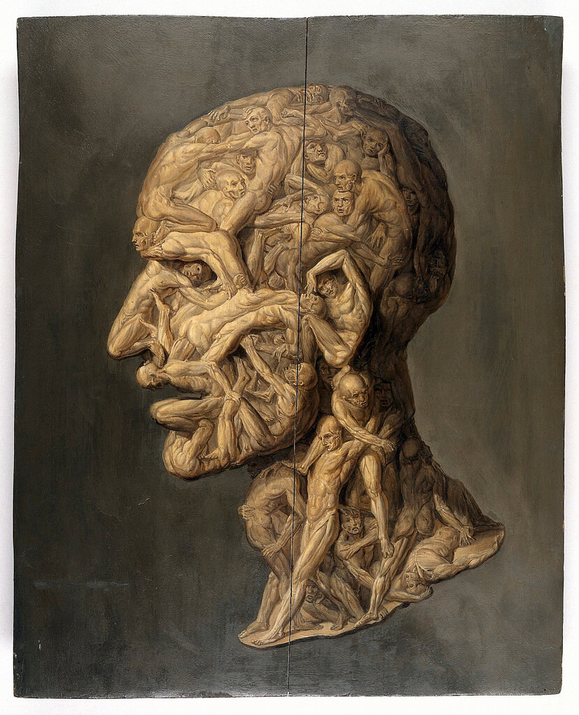Testa anatomica (1854); profile view of male human head composed of writhing, apparently tormented naked men, by Filippo Balbi