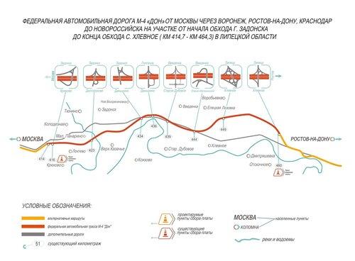 М4 ДОН 414 км 464 км Хлевное Задонск платный участок Липецкая область
