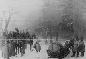 Патруль кирасир в лесу. 1812 г. - репродукция с картины.
