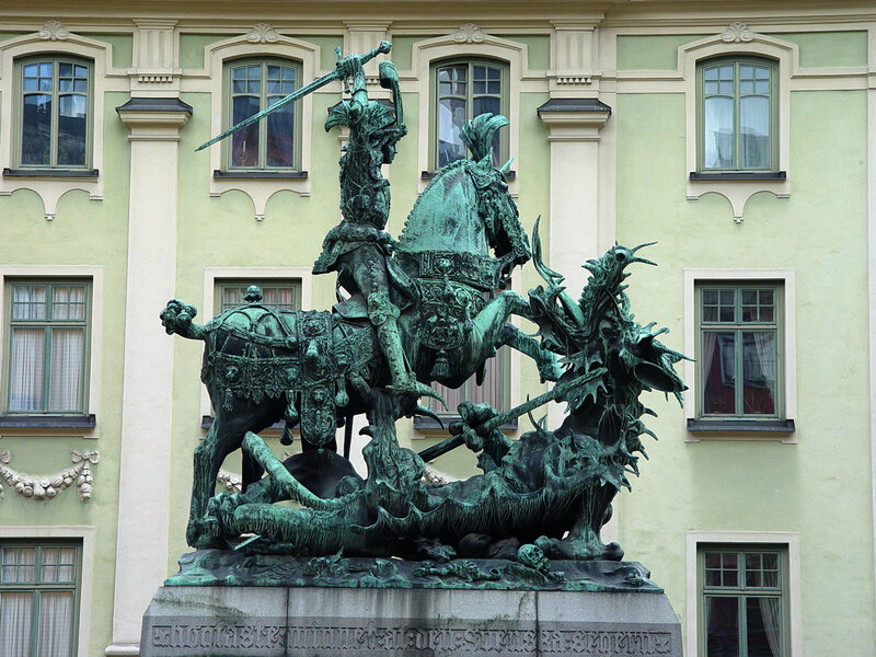Saint George and the Dragon replica at Köpmantorget
