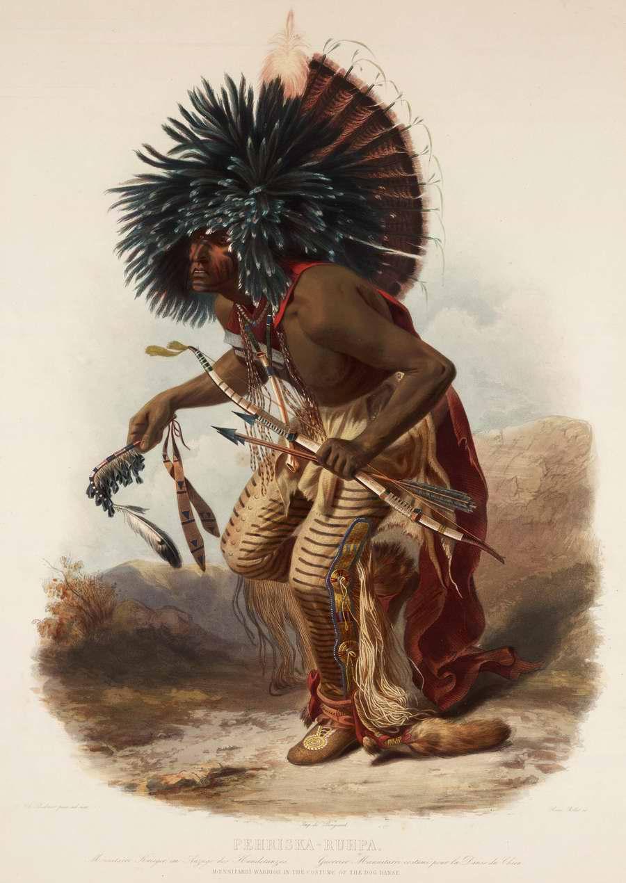 Индейский воин в костюме для исполнения собачьего танца - Karl Bodmer
