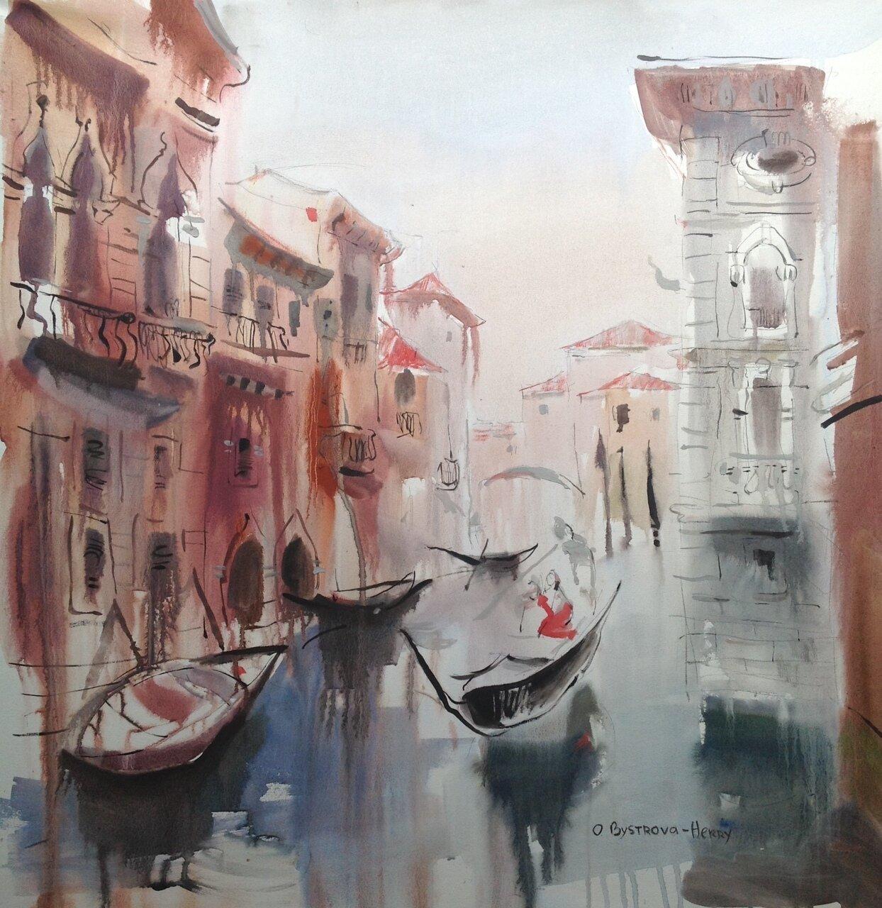 Venise a l'aube. A voir a la galerie Atelier 28