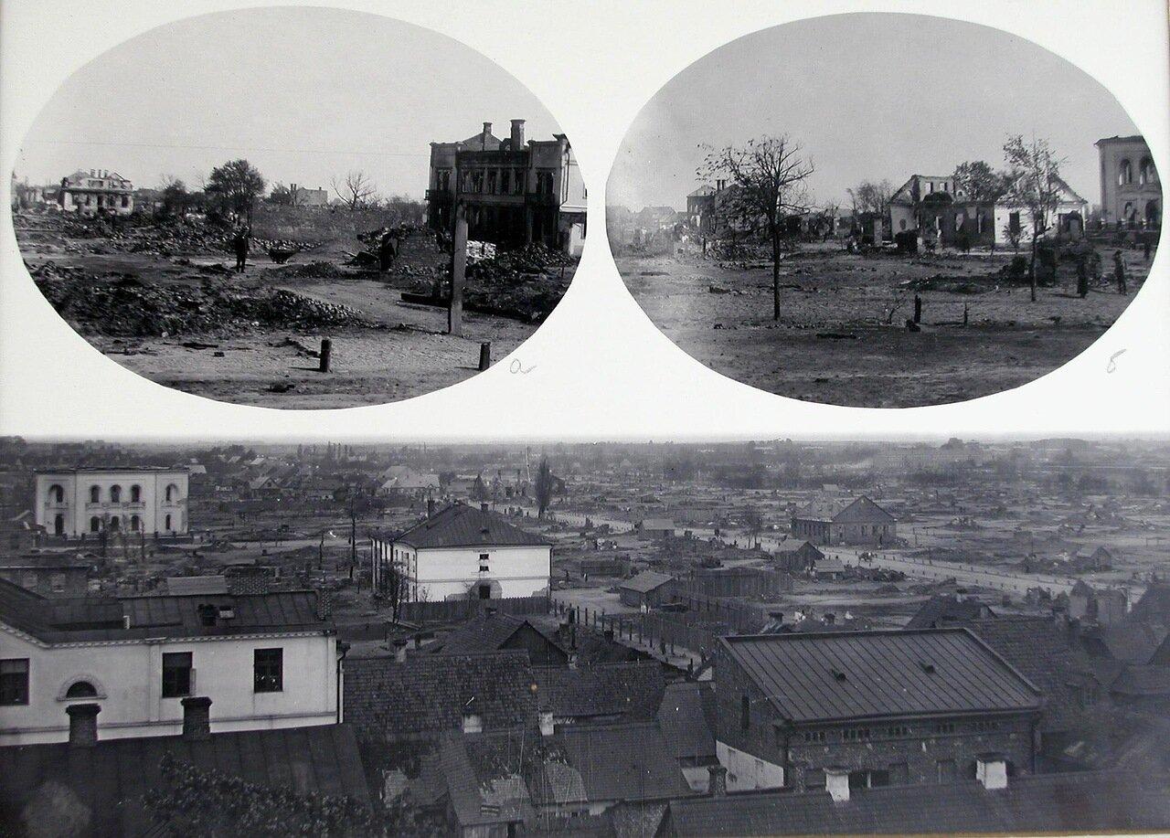 Табло с фотографиями мест пожара ( а и б ) и вновь строящихся зданий ( в ). 4 мая 1895