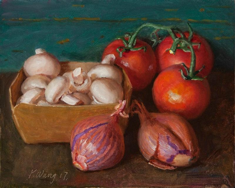 Американская  художница  Youqing (Eugene) Wang.  Tomatos,  onions.