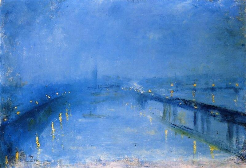 Мосты Темзы в сумерках. Лессер Ури 1926, 67×97 см