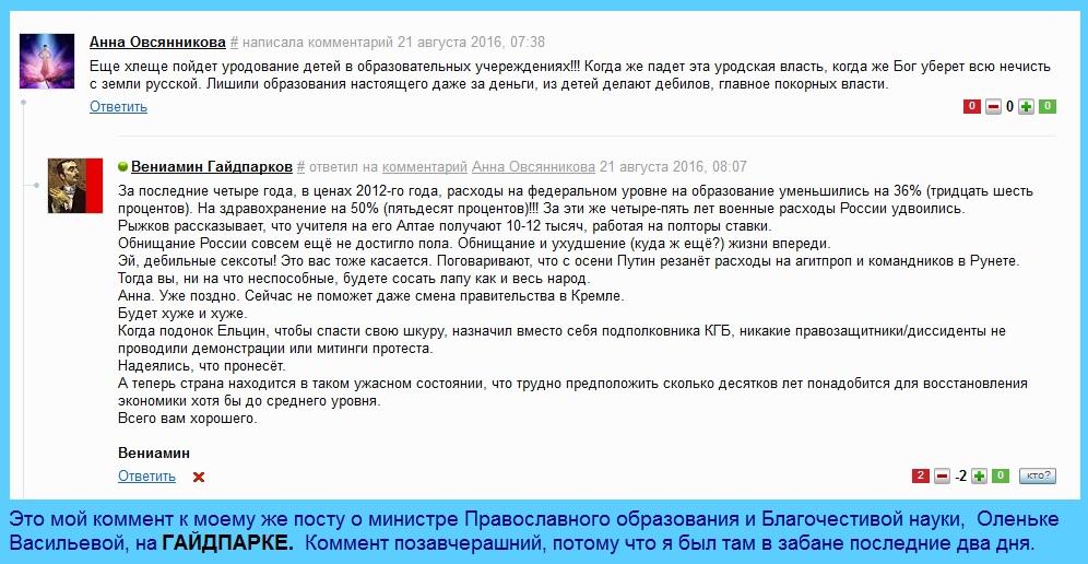 Макспарк, Министр Ольга Васильева.