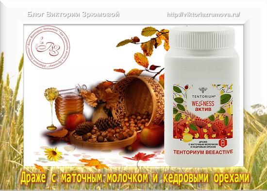Тенториум BeeActive – Драже с Кедровыми орехами и Маточным молочком