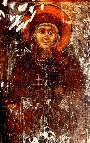Образы Святых жён. Фрески церкви Панагии Ангелоктисти в деревне Кити, Кипр.