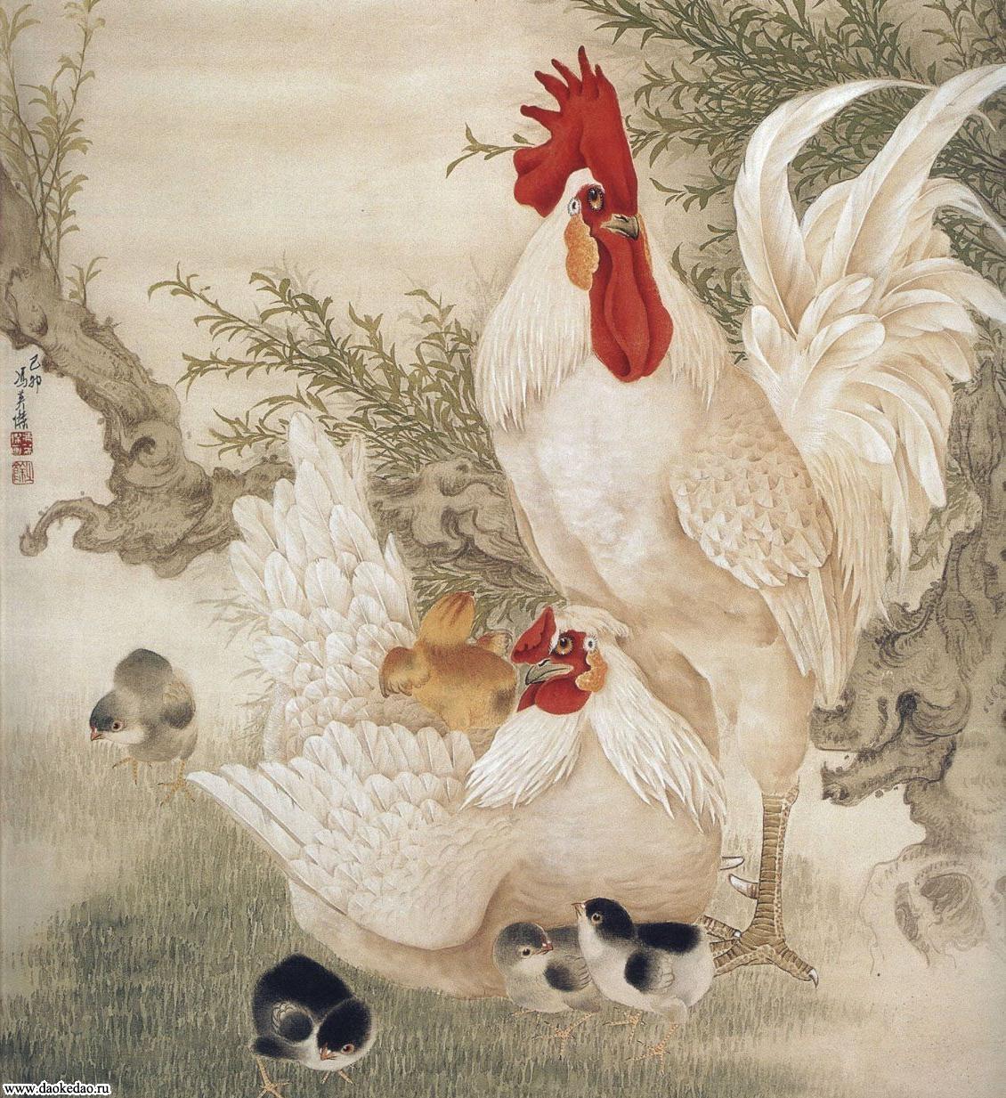 петух, курица, цыплята, японская эивопись