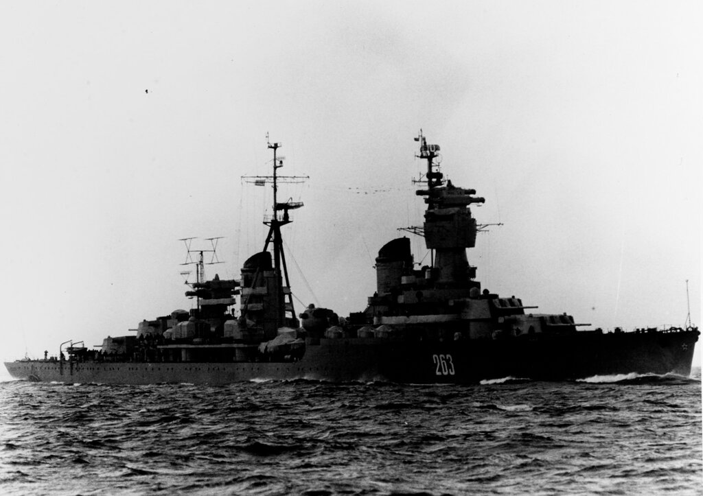 KOMSOMOLETS, Soviet Light Cruiser. Photographed during mid-1962 in the Baltic Sea.
