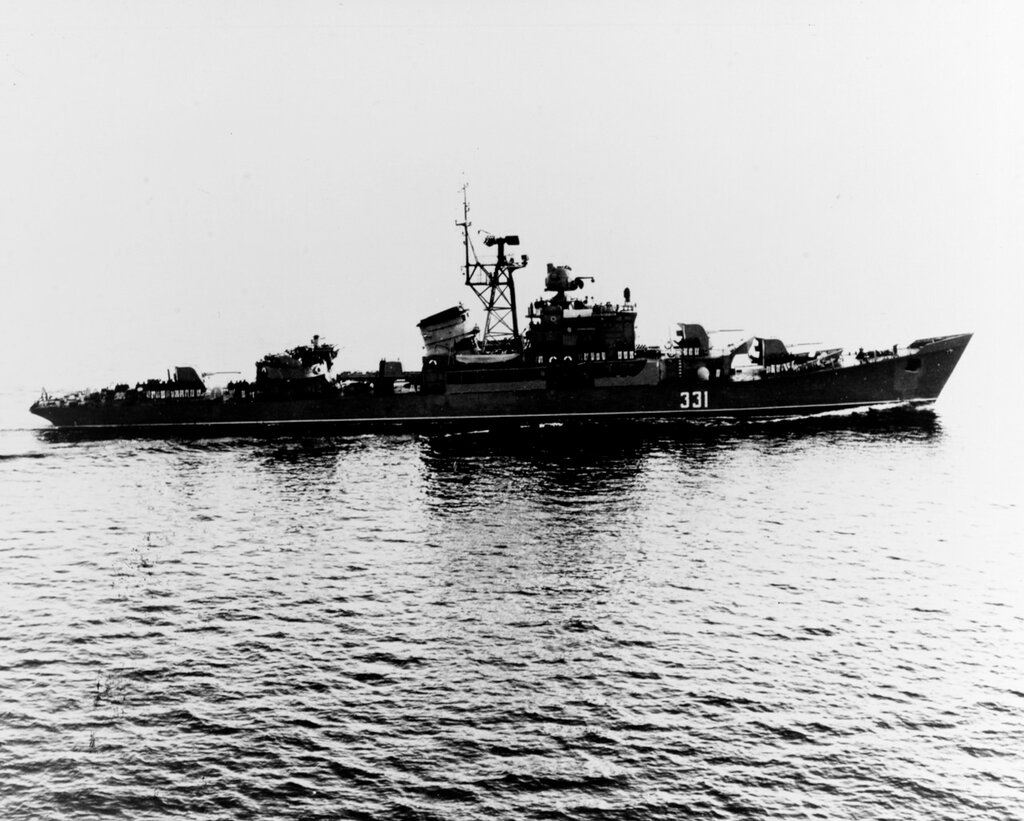Soviet Baltic Fleet RIGA class ocean escort, photographed during 1960 in the Atlantic area