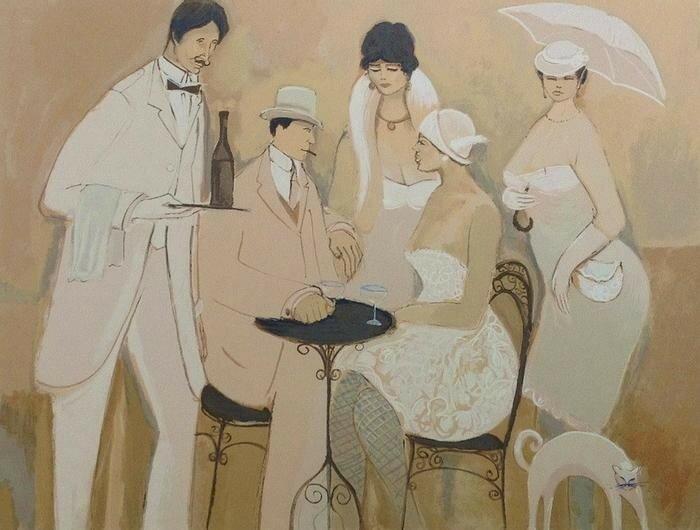Утро в парижском кафе (стихи и картины)