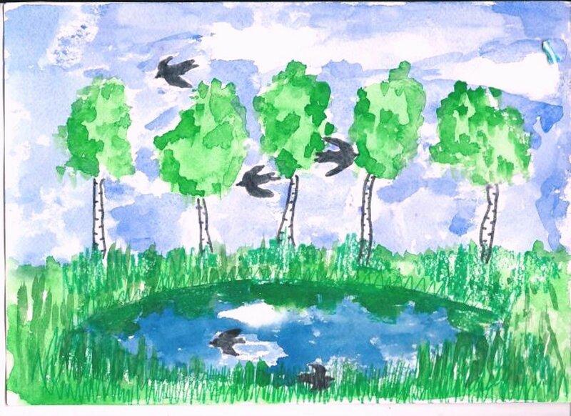 На пруде - Горбунова Ольга, 8 лет, Тема -- Рисунок, г. Сургут.jpg