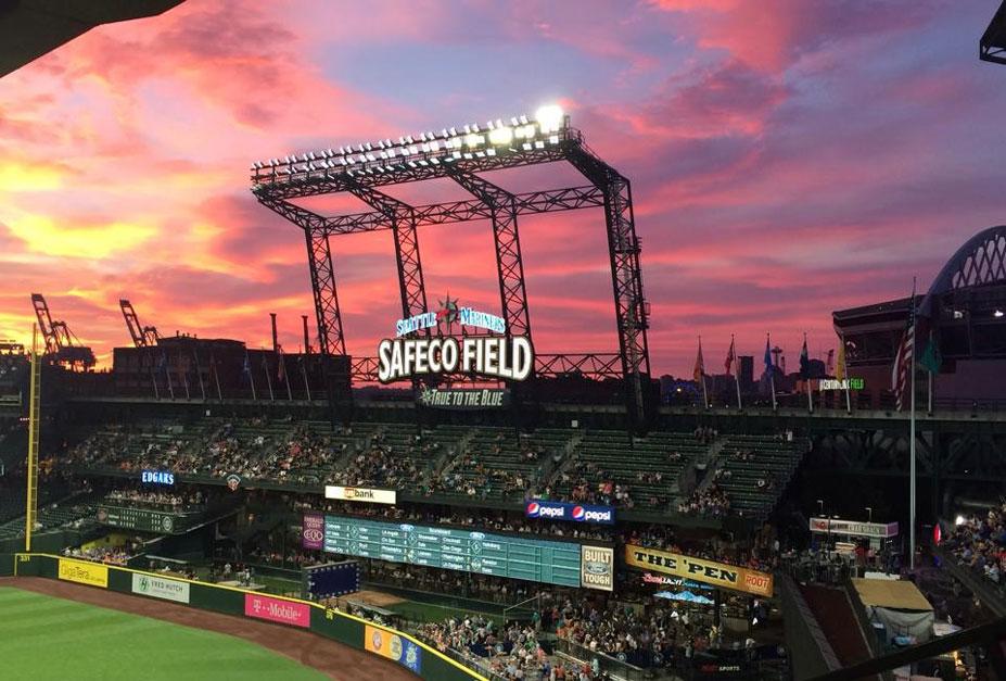 красивые закаты на бейсбольных стадионах / baseball park sunset - seattle, safeco field