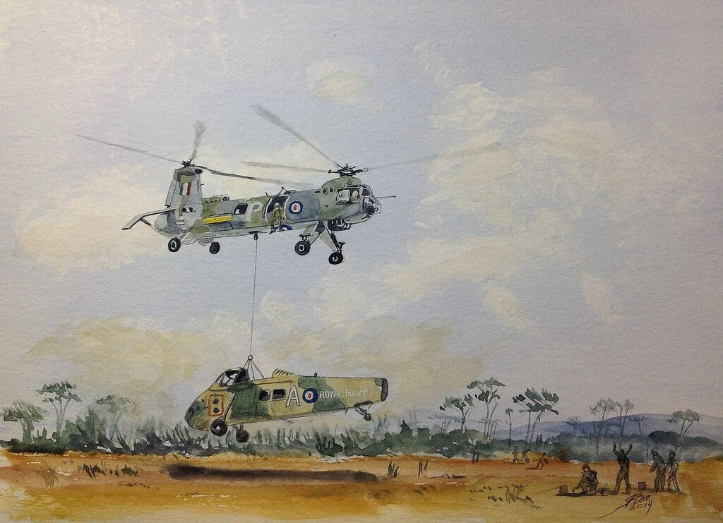 This afternoon's one is for all the 'Junglies' from th '60's both Light blue and Dark blue. Belvedere lifting a stripped down Wessex 'somewhere in SE Asia'.